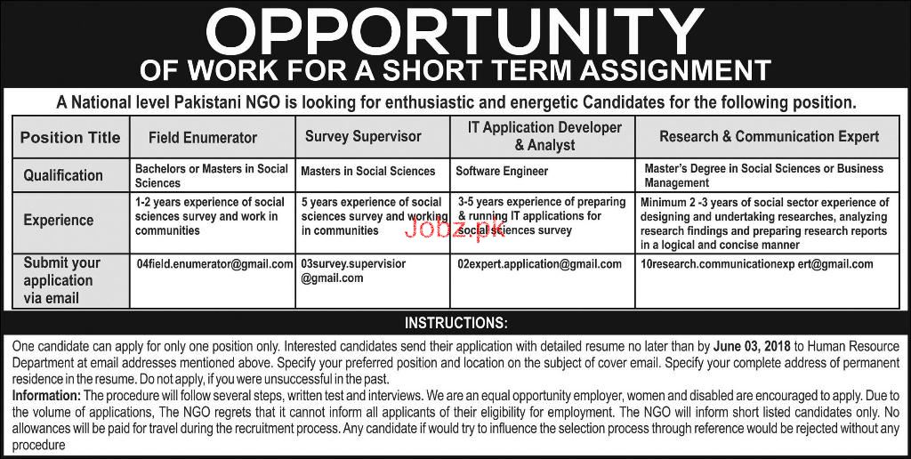 Field Enumerators, Survey Supervisors Job in NGO