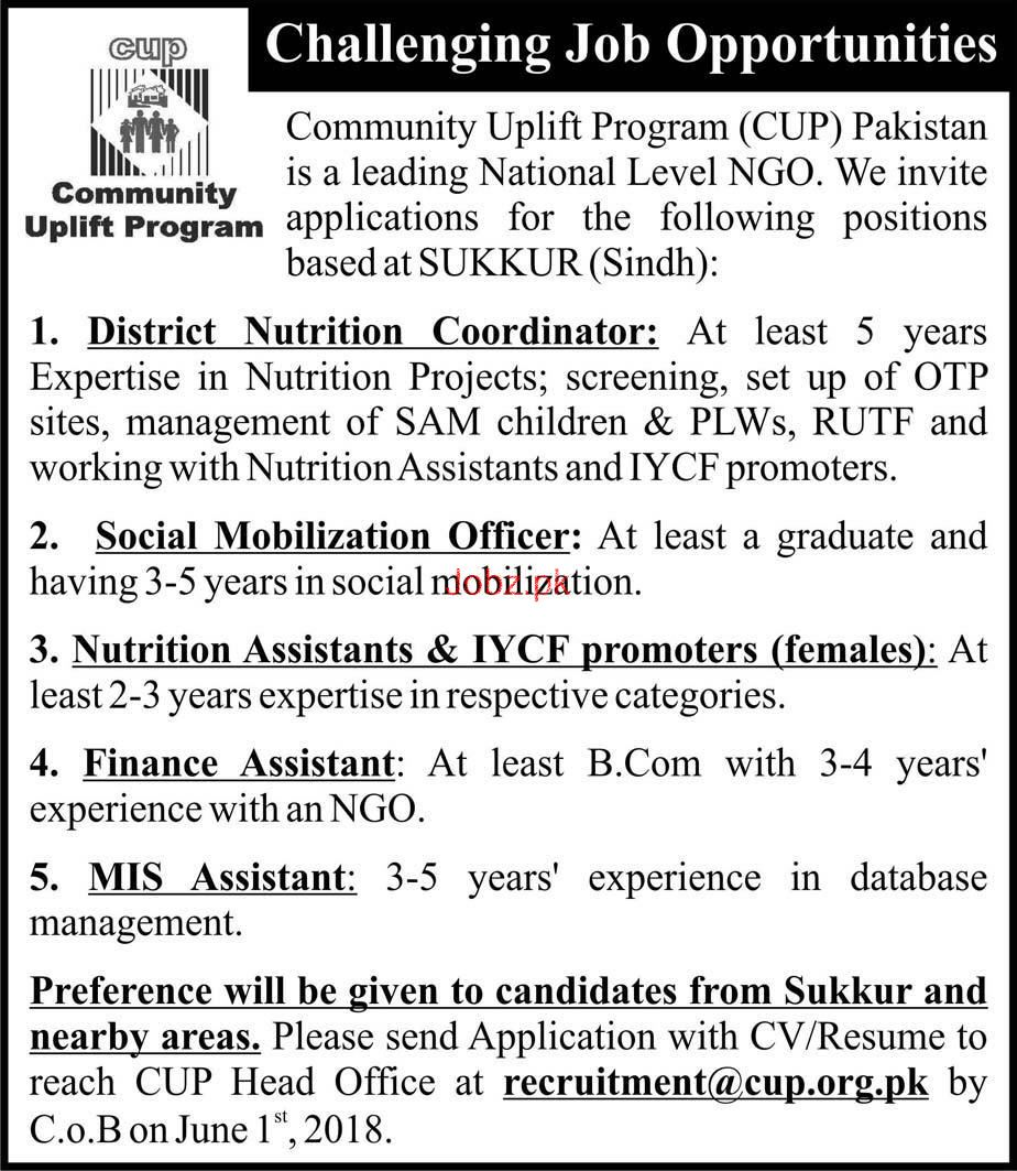 Community Uplift Program CUP Pakistan Jobs 2019 Job Advertisement