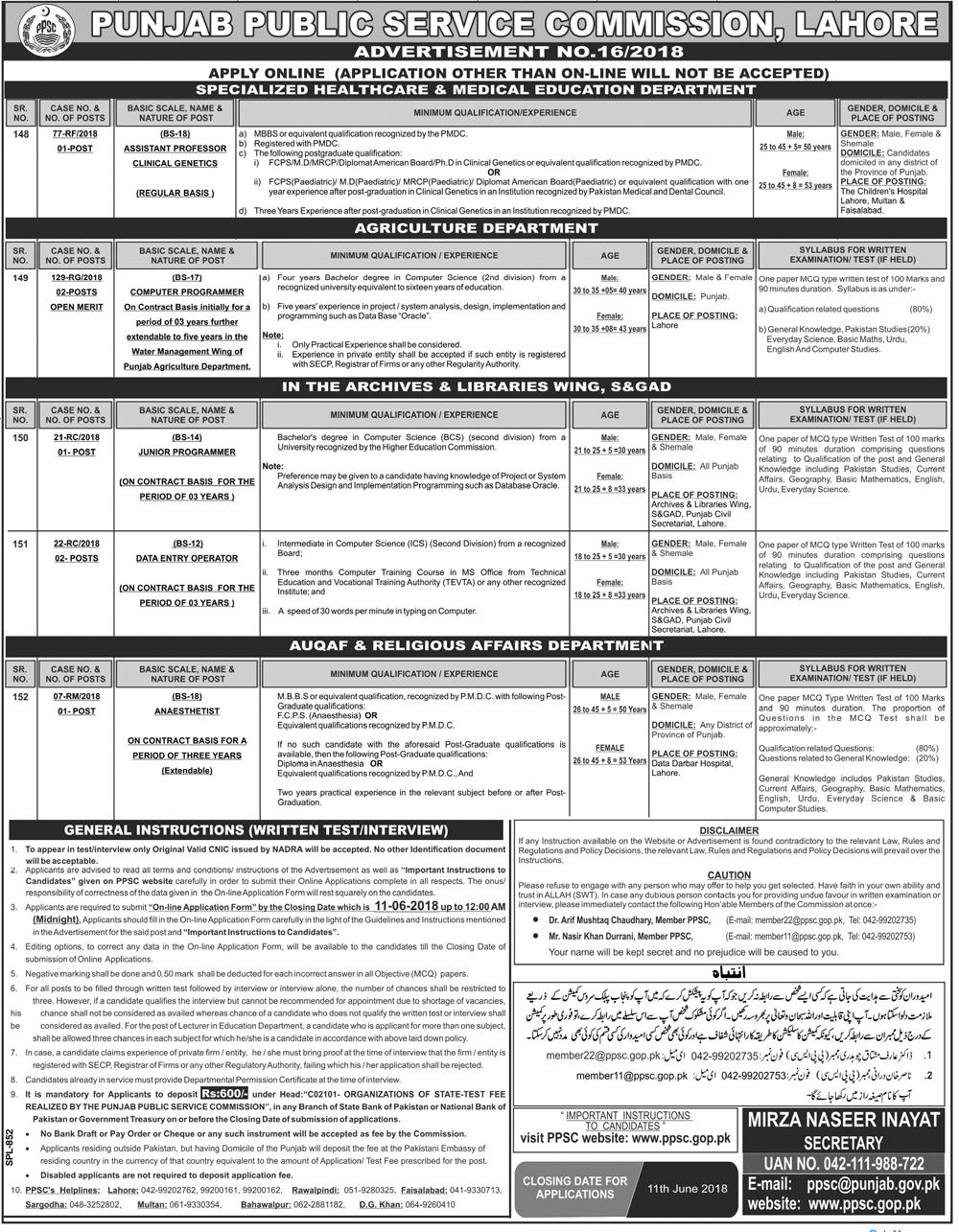 Punjab Public Service Commission PPSC  Jobs 2018