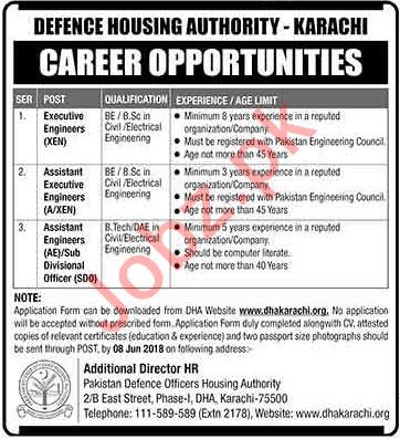 Defence Housing Authority DHA Karachi Jobs 2018