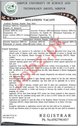 MUST Mirpur AJK Academic & Administartive Jobs via NTS