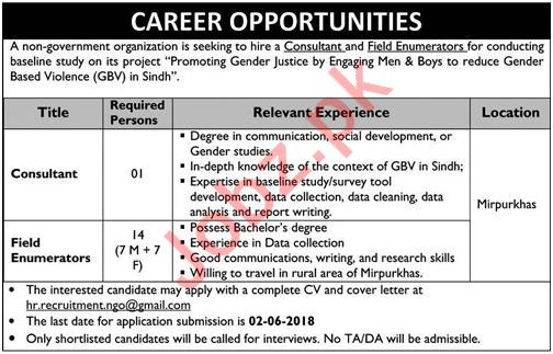 Consultant & Field Enumerators NGO Jobs 2018