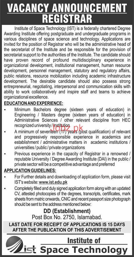 Institute of Space Technology IST  Registrar Jobs