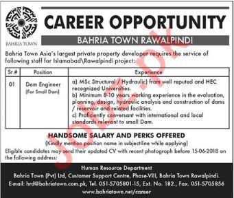 Bahria Town Rawalpindi Jobs 2018 for Dam Engineer