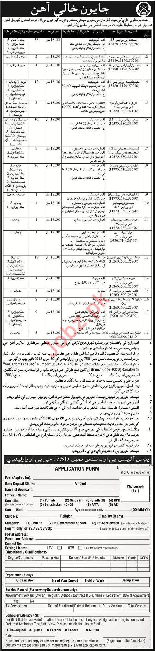 Pakistan Army Rawalpindi Jobs 2018 for LDC & Assistants