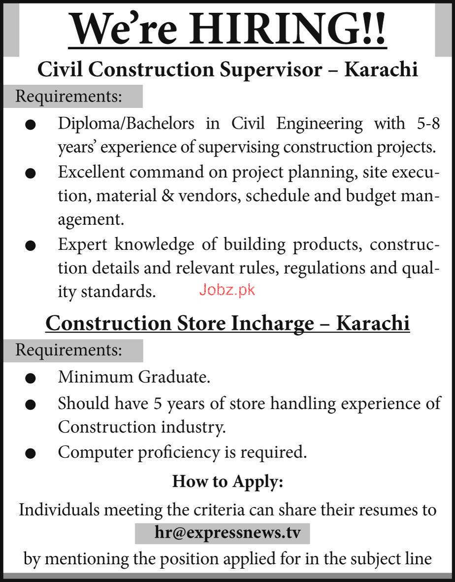 Civil Construction Supervisors Job Opportunity