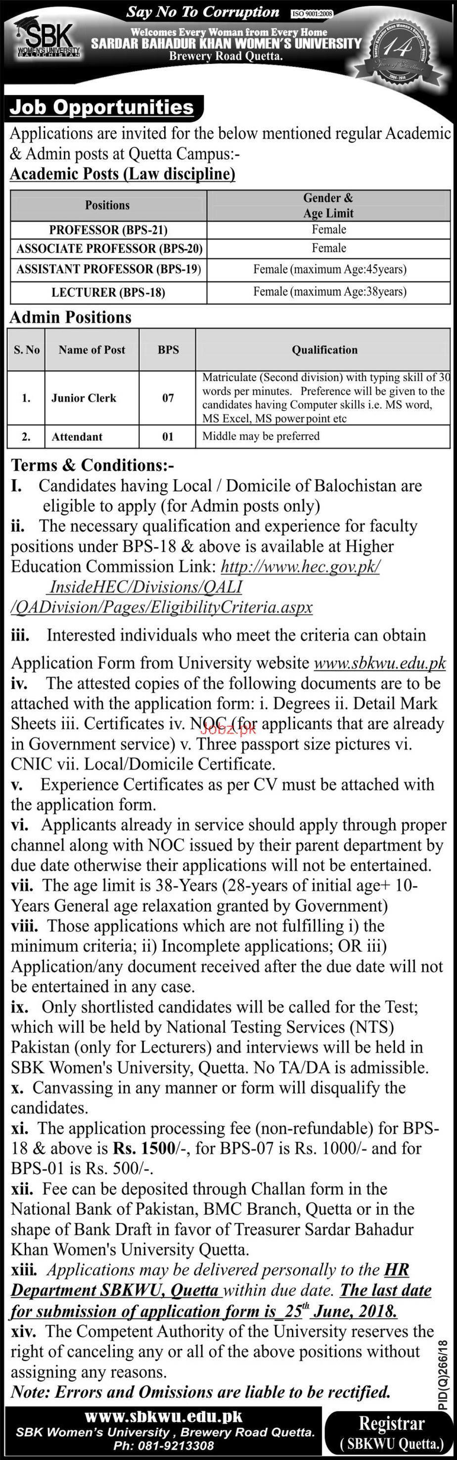 Sardar Bahadur Khan SBK Women University Teaching Jobs