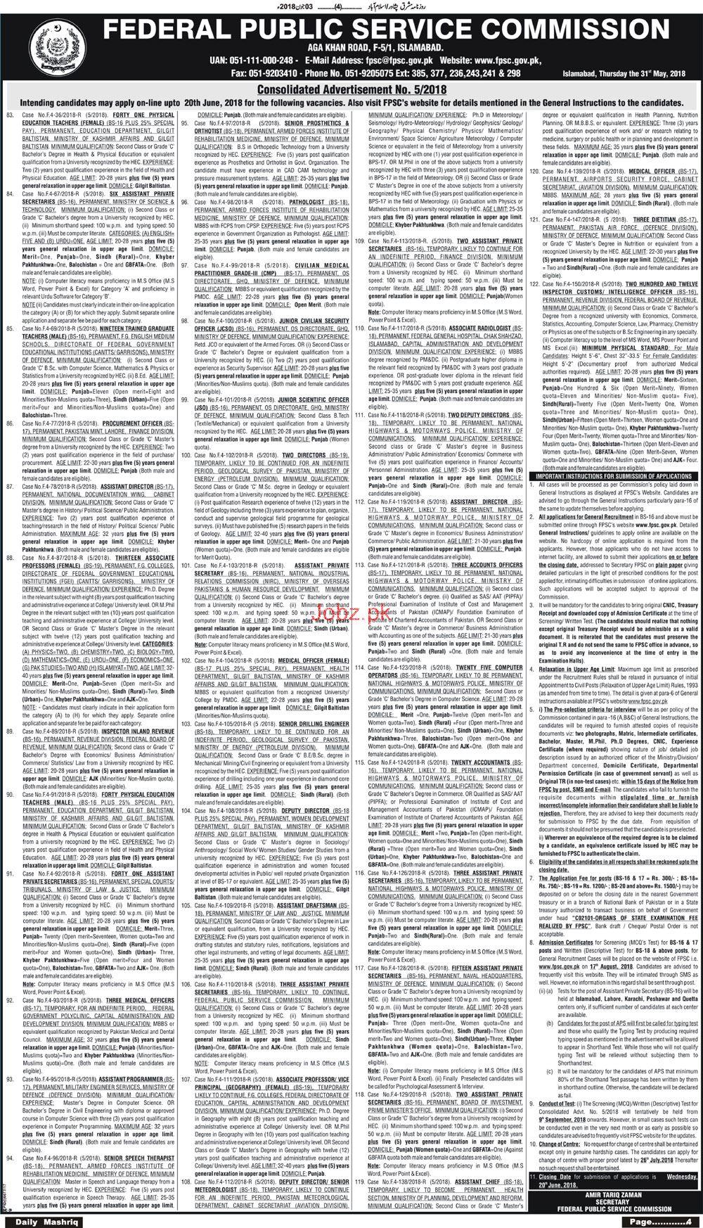 Recruitment of Inspectors Customs in BFR Through  FPSC