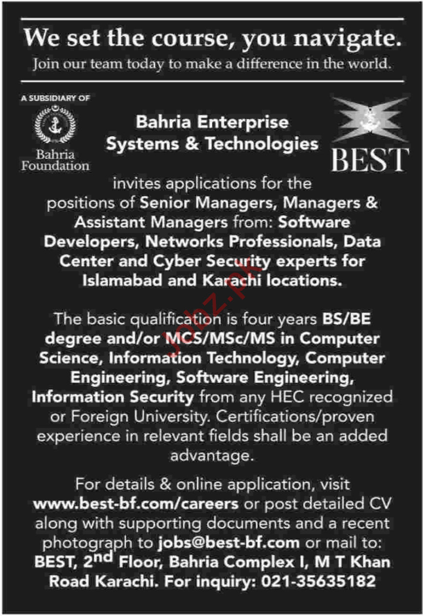 BEST Bahria Enterprise Systems & Technologies Limited Jobs