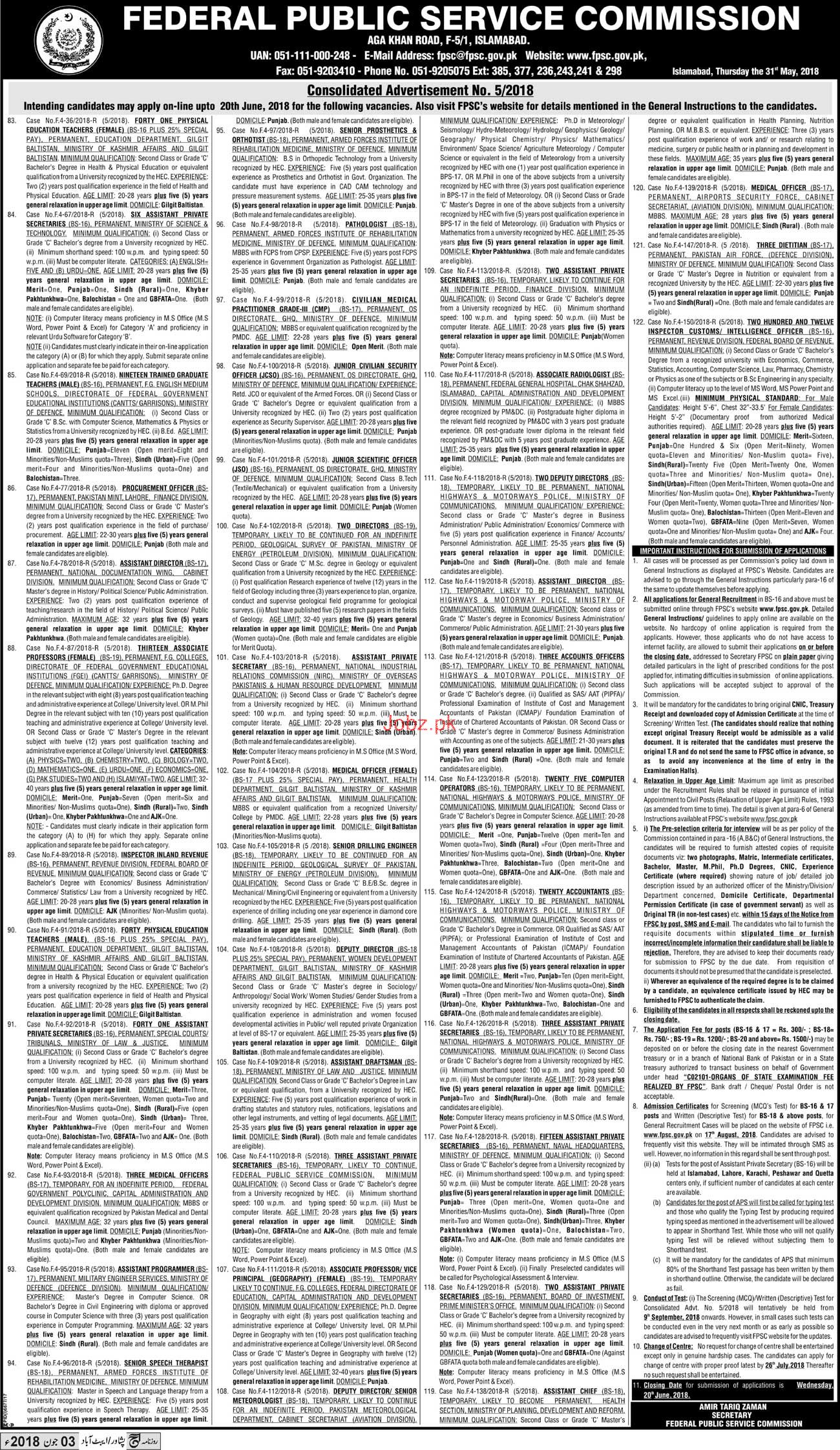 Federal Public Service Commission FPSC Job 2018 2019 Job