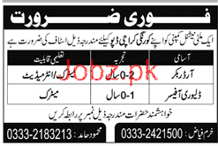 Order Bookers and Delivery Officers Job Opportunity