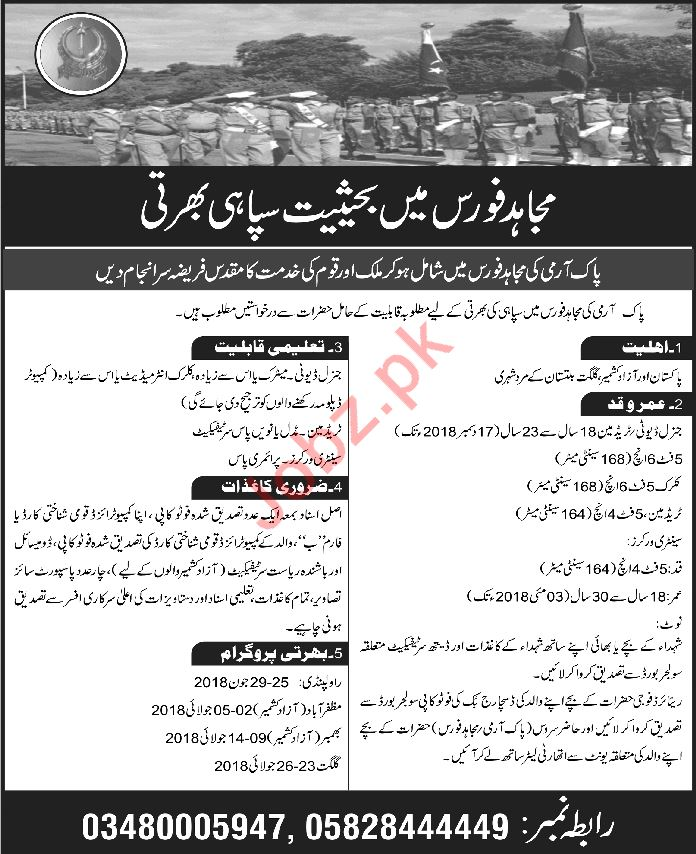 Join Pakistan Army Mujahid Force as Soldier 2018