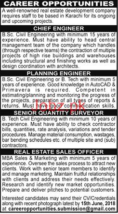 Chief Engineers, Planning Engineers Job in Real Estate