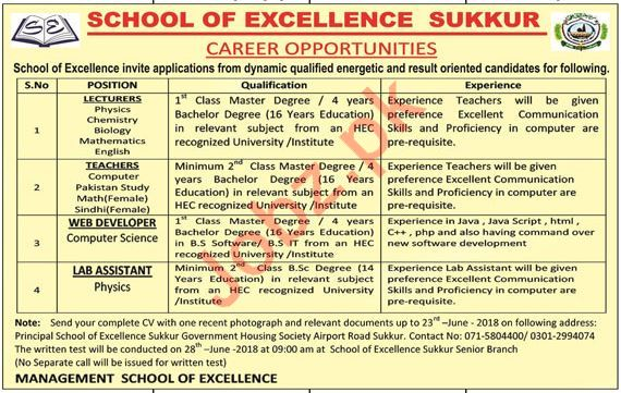 School of Excellence Teaching & Non Teaching Jobs 2018