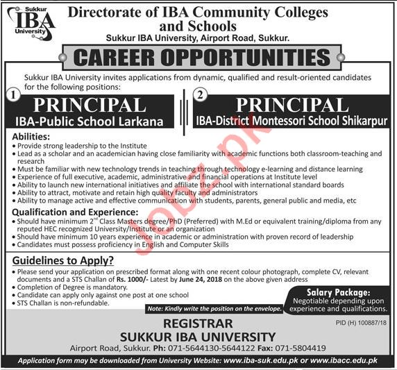 Directorate of IBA Community Colleges & Schools Jobs 2018