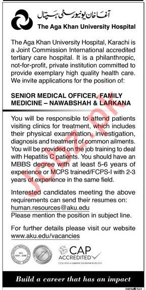 The Aga Khan University Hospital Medical Jobs 2018
