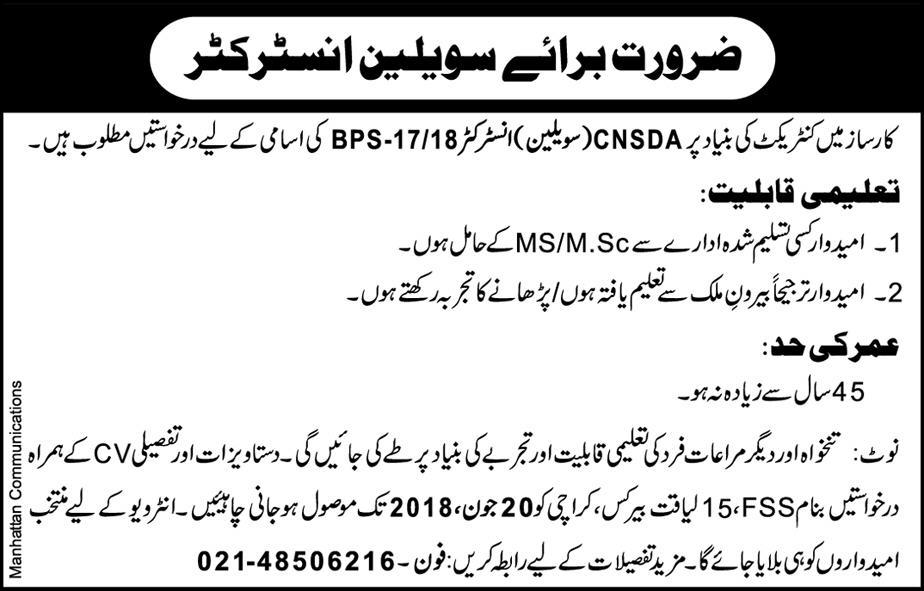 Pakistan Navy Karsaz Civilian Instructors Jobs