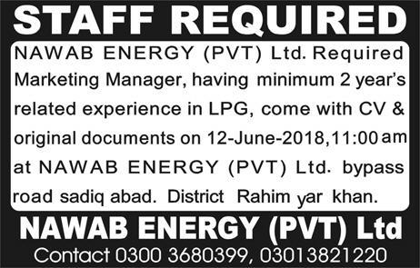 Nawab Energy Private Limited Marketing Manager Jobs