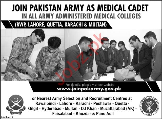 Join Pakistan Army as Medical Cadet June 2018