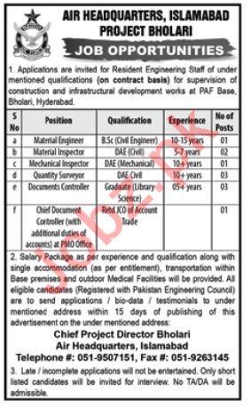 Air Headquarters Islamabad PAF Pakistan Air Force Jobs 2018