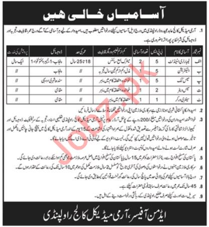 Army Medical College AMC Rawalpindi Jobs 2018