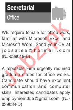 Female Office Secretary Jobs Open