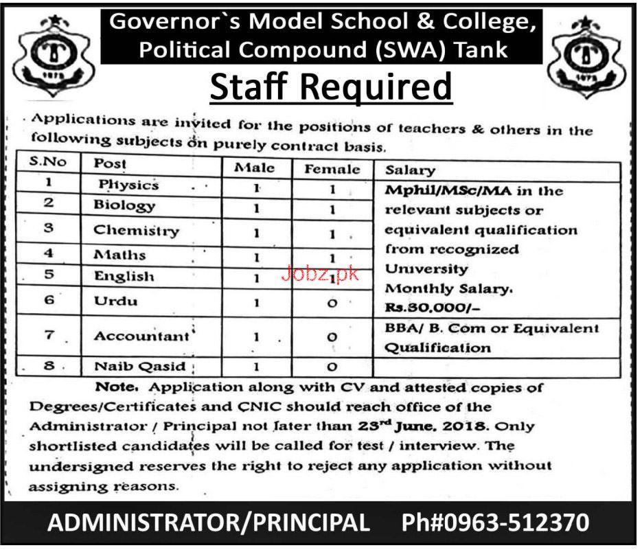 Governor's Model School & College Teaching Jobs