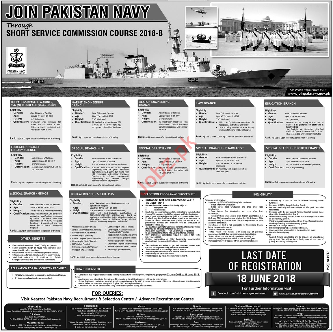 Join Pak Navy Through Short Service Commission Course 2018-B