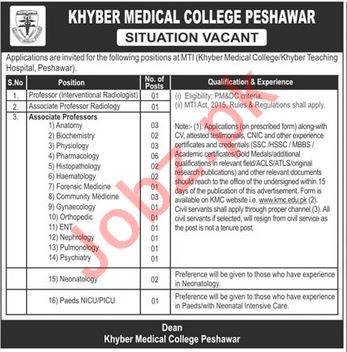 Khyber Medical College Peshawar Faculty Jobs 2018