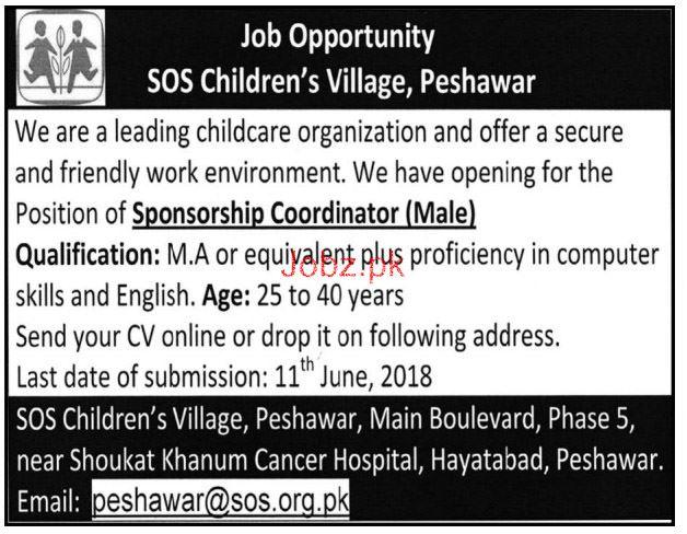 SOS Children Village Peshawar  Sponsorship Coordinator Jobs
