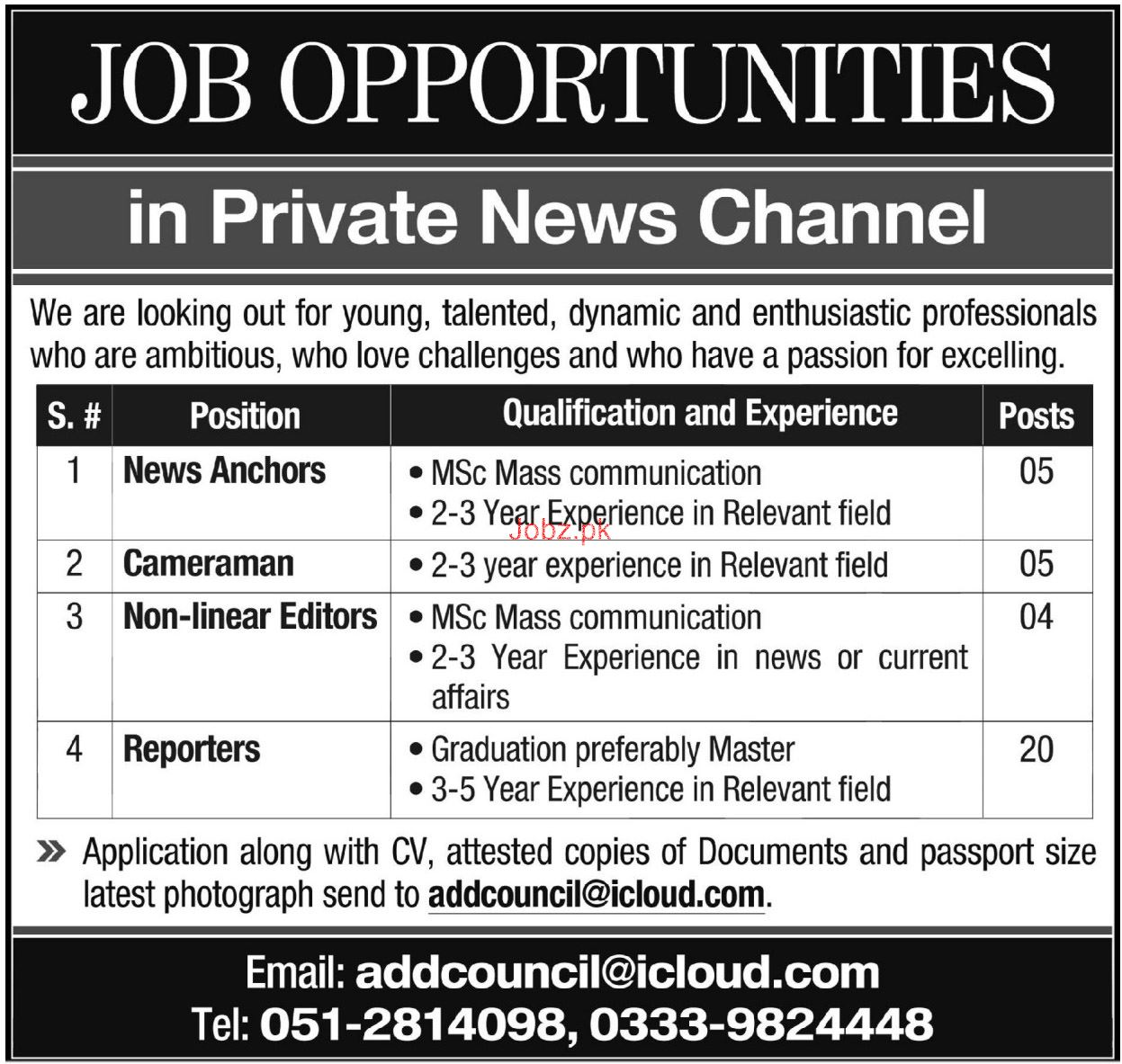 News Anchor, Cameraman, Reporter Job in Private News Channel