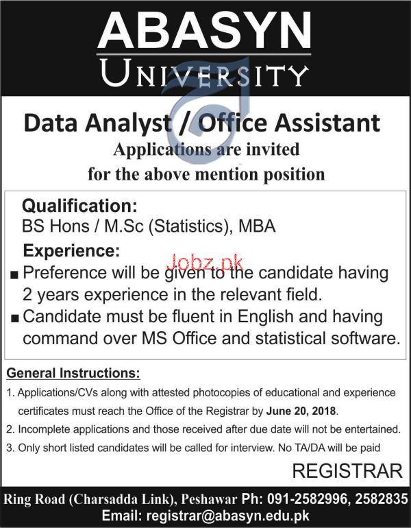 Abasyn University Data Analyst / Office Assistants Jobs