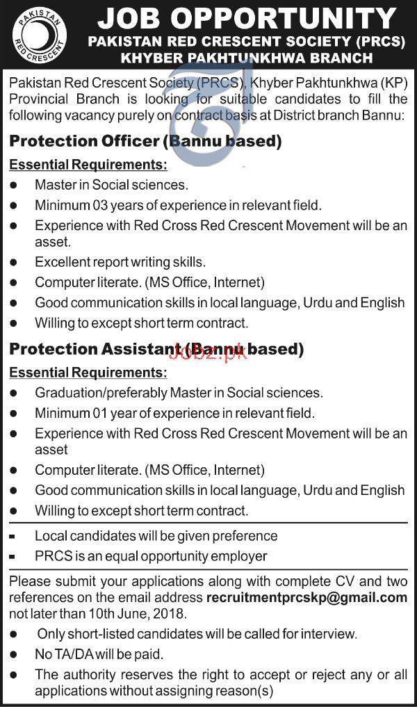 Pakistan Red Crescent Society PRCS  Bannu Jobs Open