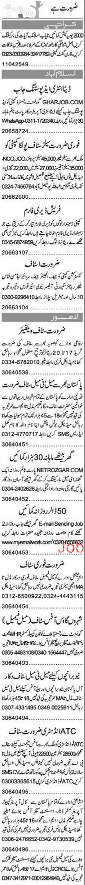 Data Entry Operators, Sales Manager, Sales Officers Wanted