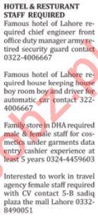 Hotel & Restaurant Staff Jobs 2018 in Lahore