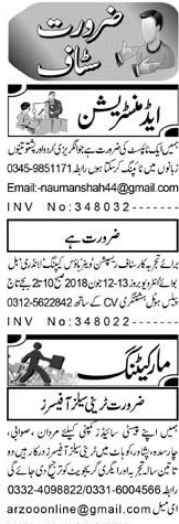 Urdu Typists, Trainee Sales Officers Job Opportunity