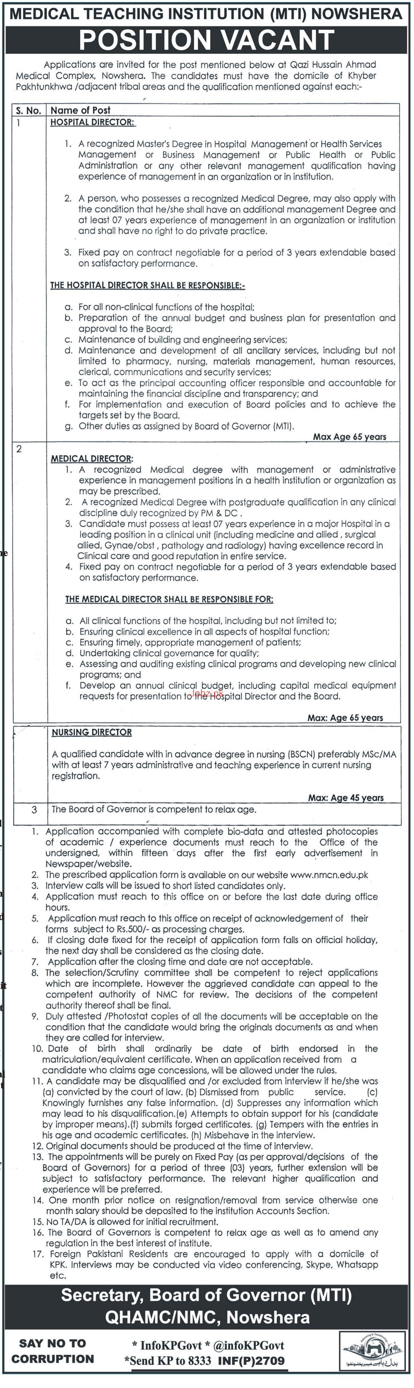 Medical Teaching Institution MTI Nowshera Jobs