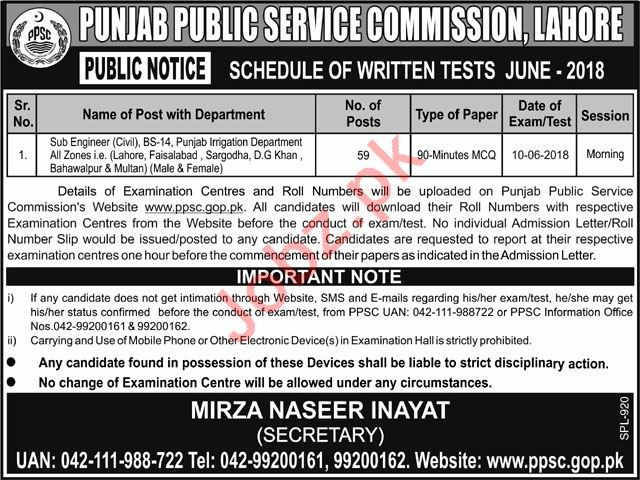 Sub Engineers Civil Job 2018 Via PPSC