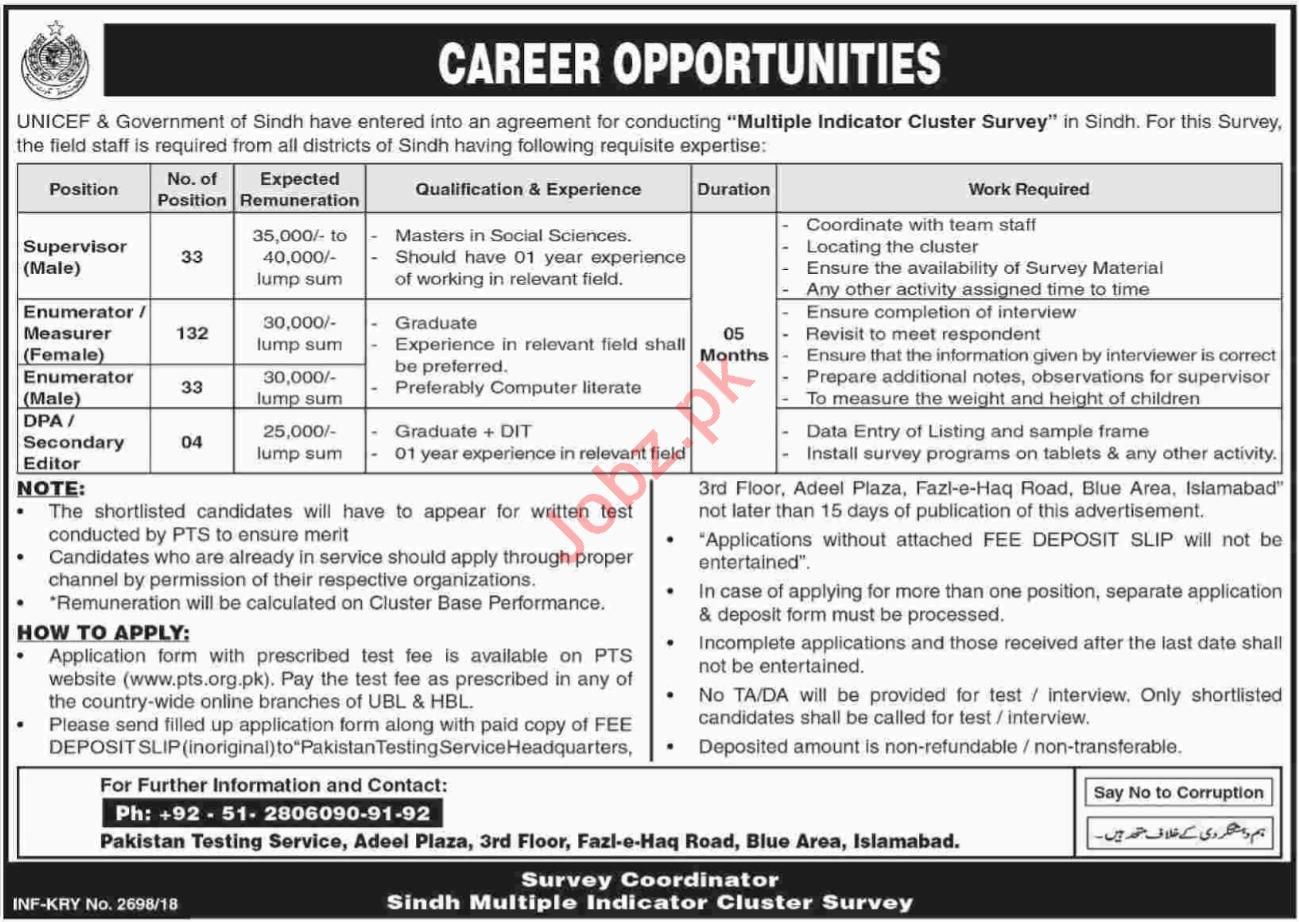 UNICEF Sindh Jobs 2018 for Supervisor & Enumerator