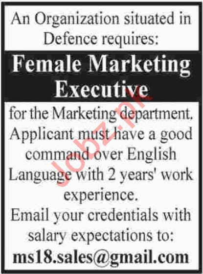 Female Marketing Executive Jobs 2018