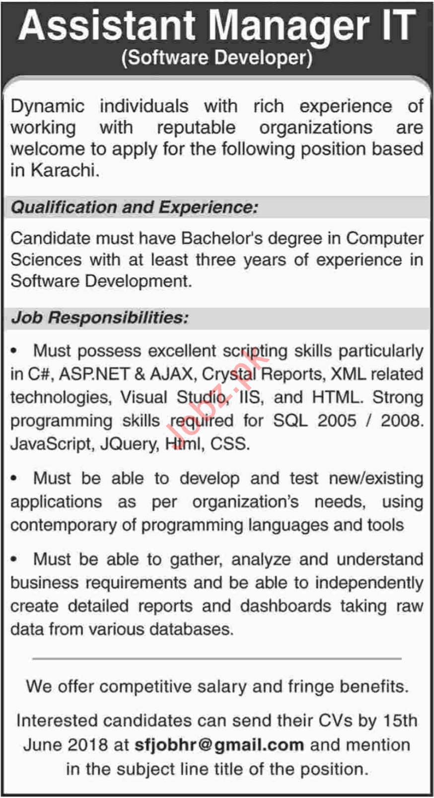 Assistant Manager IT Jobs 2018