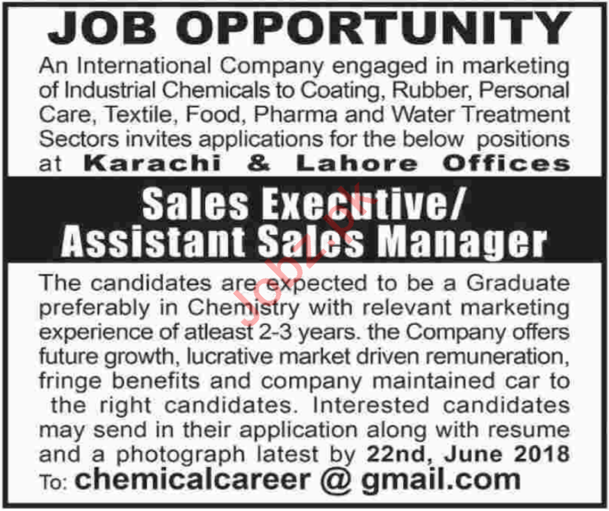 Assistant Sales Manager Jobs 2018 in Lahore