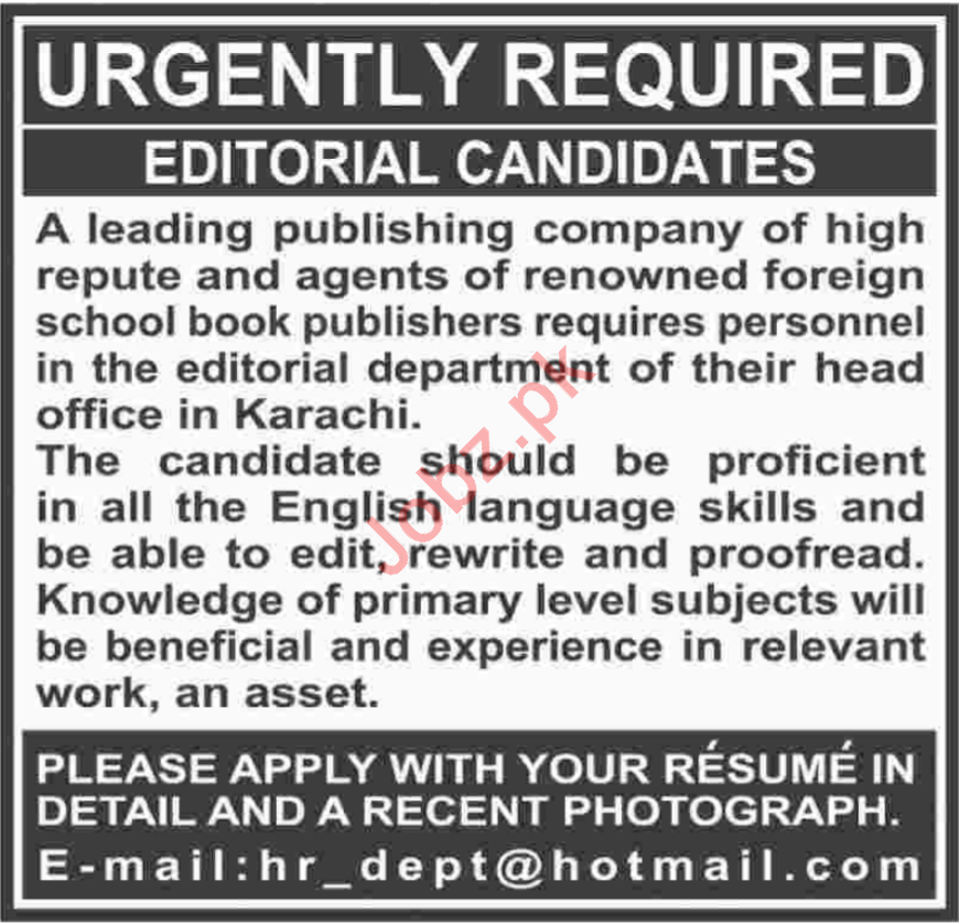 Editor Jobs Career Opportunity in Karachi