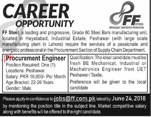 FF Steel Manufacturing Industry Procurement Engineer Jobs