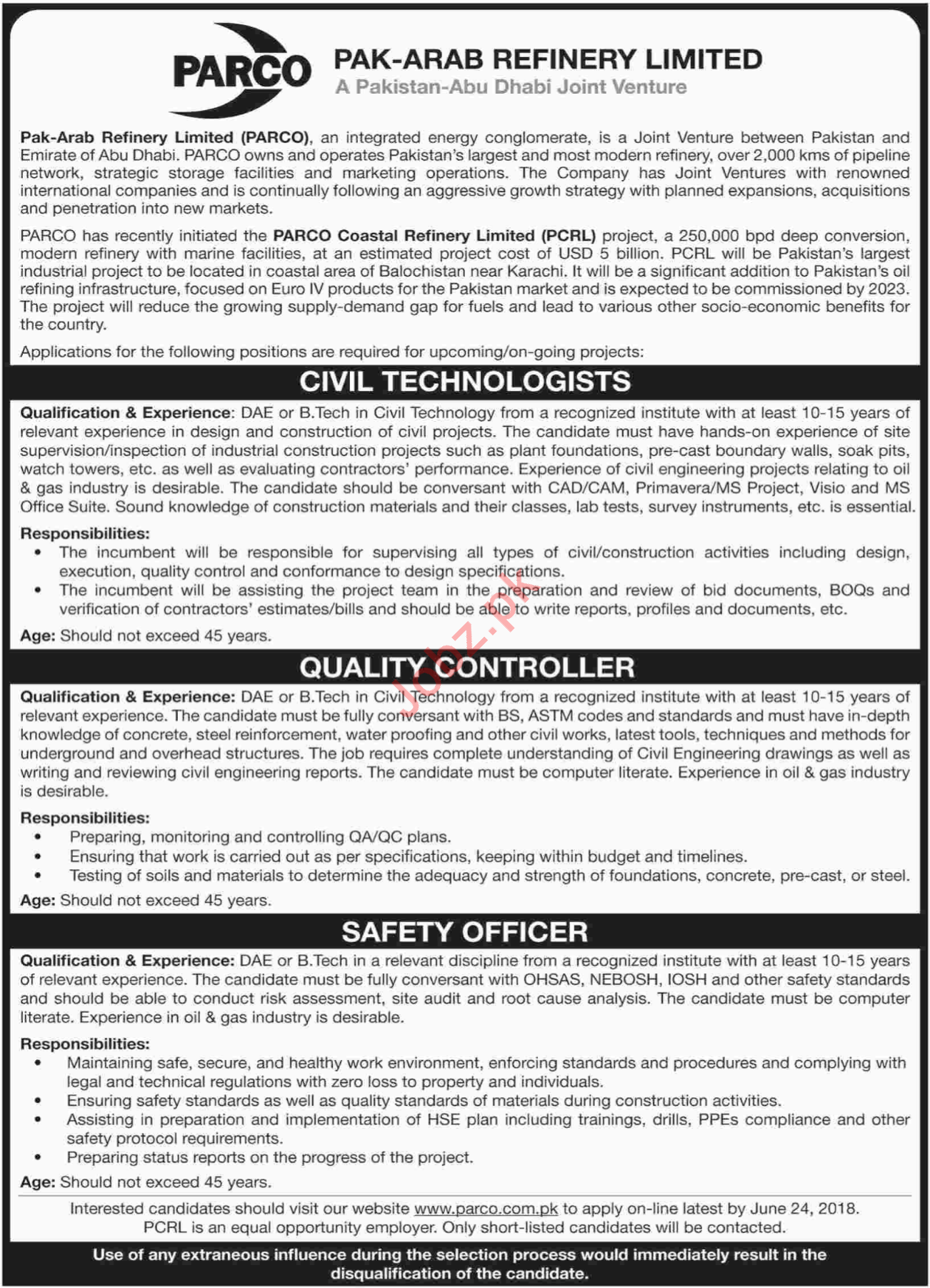 PARCO Coastal Refinery Limited PCRL Jobs 2018