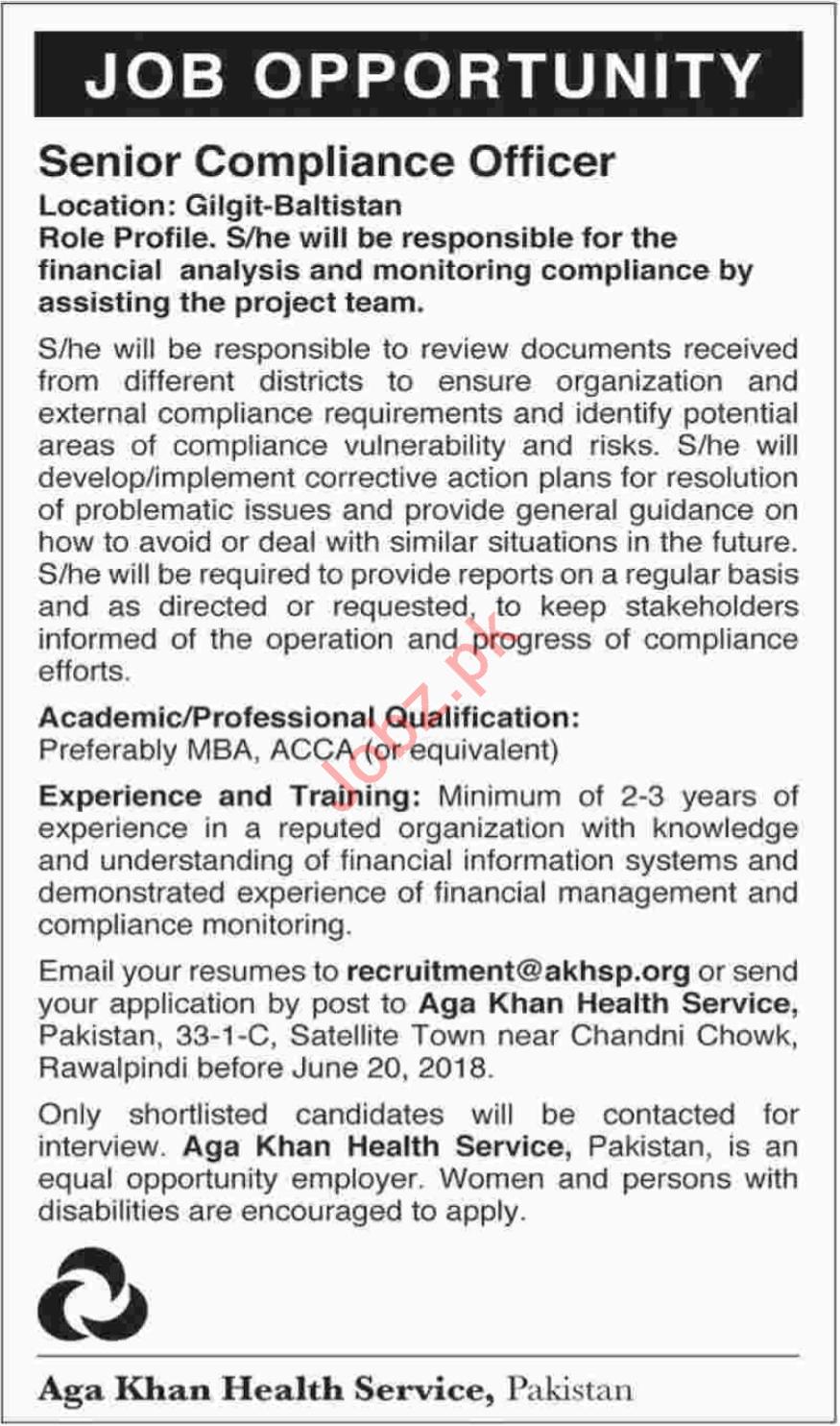 Senior Compliance Officer Jobs 2018 in Gilgit