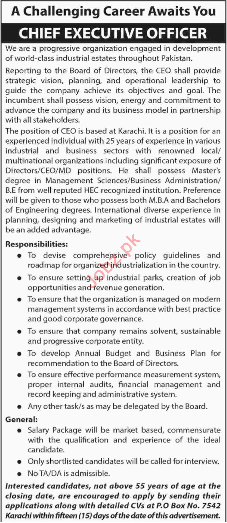 Chief Executive Officer Jobs 2018 in Karachi