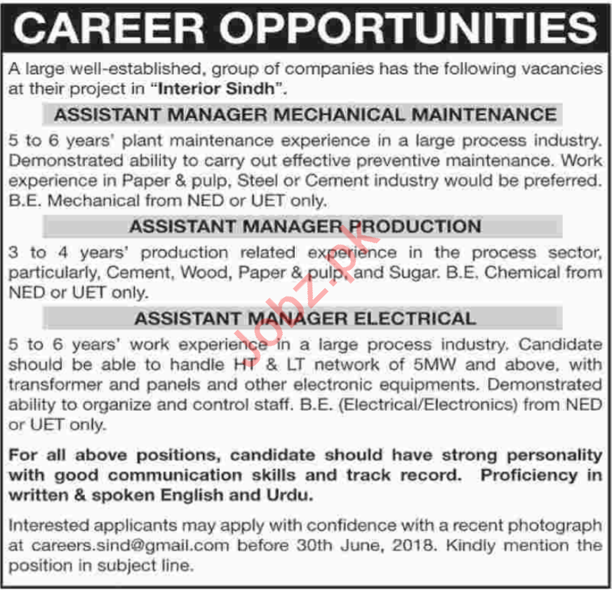 Asst Manager Mechanical Maintenance & Managers Jobs 2018