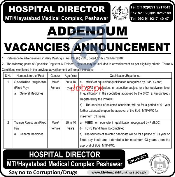 Medical Teaching Institution Hayatabd Medical Complex Jobs