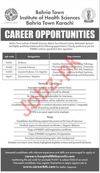 Bahria Town Institute of Health Sciences Jobs 2018